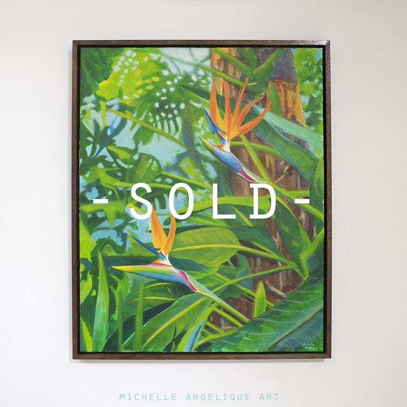SOLD. A couple of birds in paradise by Michelle Angelique. 24x30in. Acrylic on canvas. Framed.